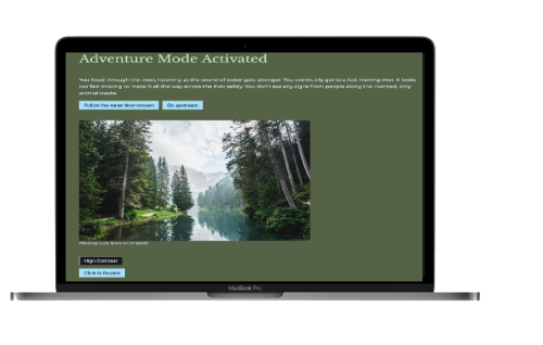 A screenshot of the Adventure Mode Activated website. It shows a paragraph of the story with two button options on a dark green background. Below is a picture of a river in the forest.