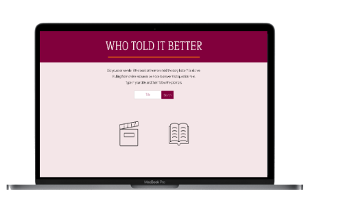 A screenshot of the Who Told It Better website. It has the title on a burgundy background with a continue button underneath the title.